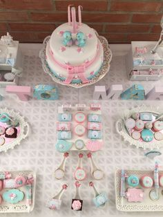 Pink and blue dessert table at a shabby chic birthday party! See more party ideas at CatchMyParty.com!