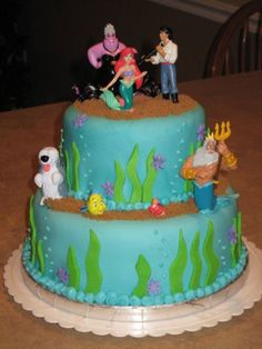 Ariel Little Mermaid Fondant Cake  on Cake Central