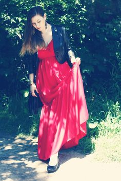 RED DRESS, BLACK JACKET - I LOVE BOHO STYLE! :) | Glam & Curvy