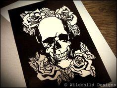 Alternative Valentine Gothic Skull and Roses by WildchildDesigns77