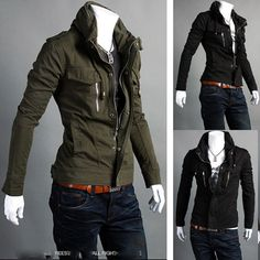 36.66 $Men's Sexy Korean Trench Spring Fall Winter Jacket Stand Up Collar Slim Fit Coat | eBay