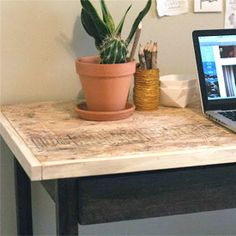 Instructions and Dimensions for a simple home work space that includes a drawer!