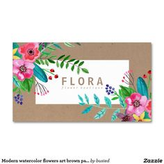 Modern watercolor flowers art brown paper florist Double-Sided standard business cards (Pack of 100)