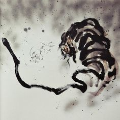 azertip:    Baek Seong Min Tiger Tattoo, Ink Art, Korean Art, India Ink, Chinese Painting, Art, Tiger Painting, Ink Painting, Zen Art