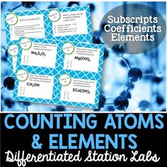Counting Atoms and Elements Student-Led Station Lab - Distance Learning 8th Grade Science, Science Curriculum, Middle School Science, Science Classroom, Teaching Science, Balancing Equations, Science Stations, Reading Stations, Reading Passages