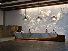 Make a reservation on Alohilani Resort Lobby Interior, Office Interior Design, Interior Design Inspiration, Asian Interior, Luxury Interior, Interior Architecture, Hotel Interiors, Office Interiors, Wall Design