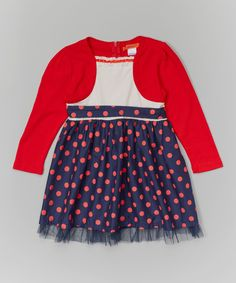 Look at this Red & Navy Polka Dot Mock Shrug Dress - Toddler & Girls on #zulily today!