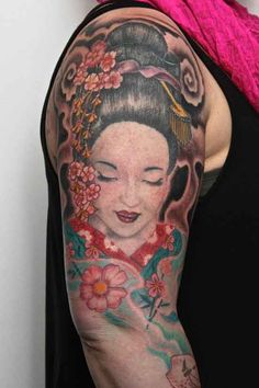What does geisha tattoo mean? We have geisha tattoo ideas, designs, symbolism and we explain the meaning behind the tattoo. Geisha Tattoos, Geisha Tattoo Design, Face Tattoos For Women, Crane Tattoo, Fresh Tattoo, Beste Tattoo, Forearm Tattoos, Sleeve Tattoos, Tattoos With Meaning
