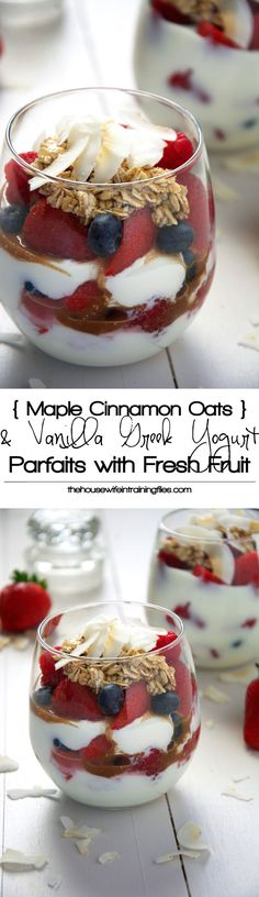 Fresh fruit, maple and cinnamon oats with creamy vanilla yogurt makes this parfait a simple make ahead, no brainer breakfast! What's For Breakfast, Breakfast Dishes, Breakfast Recipes, Breakfast Parfait, Breakfast Healthy, Perfect Breakfast, Healthy Yogurt Parfait, Greek Yogurt Parfait, Healthy Treats