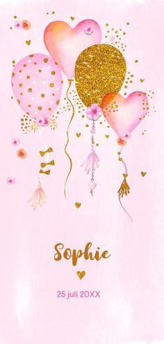 Geboorte meisje ballonnen aquarel, verkrijgbaar bij #kaartje2go voor €2,99