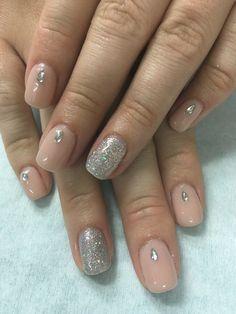 Elegant neutral natural Nude Rhinestone and silver glitter gel
