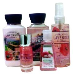 perfume and lotion gift set: bath and body works  french lavender & honey x5 ed...