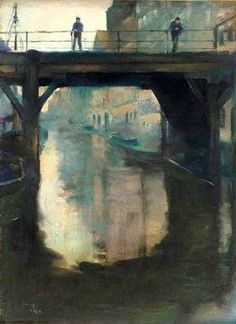 View of figures on a bridge Lesser Ury