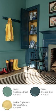 There is an intrinsic harmony to the Benjamin Moore WILLIAMSBURG palette. It's the result of colors inspired by centuries-old pigments: pleasing, complex colors that live together easily. 'Spotswood Teal CW-545', 'Damask Yellow CW-400' and 'Everard Blue CW-575' work well together in this mudroom.