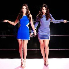 """""""Brie and Nikki 💙💙💙💙 so cute girls love you girls Brie Bella Wwe, Nikki And Brie Bella, John Cena And Nikki, Bella Sisters, Gorgeous Ladies Of Wrestling, Famous Twins, Fashion Tips For Women, Fashion Ideas, Wwe Womens"""
