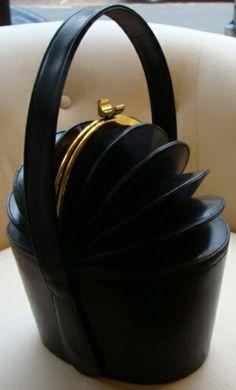 RARE Black Leather Concertina Top Hat Box Purse, ht
