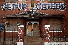 "The grass has grown up a bit since this photo of Redd Foxx's ""Get Up, Get God"" was taken"