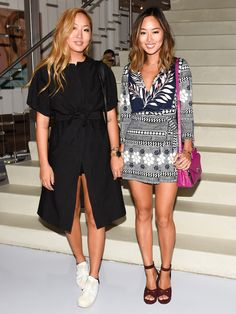 Dani and Aimee Song, in a Celeste romper and mini #DVFSecretAgent bag #NYFW