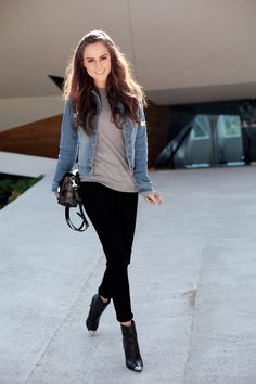 This outfit worn by Andy Torres is more of my style; casual and functional. This outfit is useful because the pants give you more freedom to move around quickly, she is wearing a soft looking gray sweater and a jean jacket to keep her warm. This is a nice everyday outfit that anybody could wear in the fall or winter.