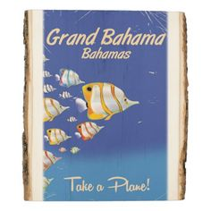 #wedding - #Grand Bahama Vintage Tropical fish travel poster Wood Panel