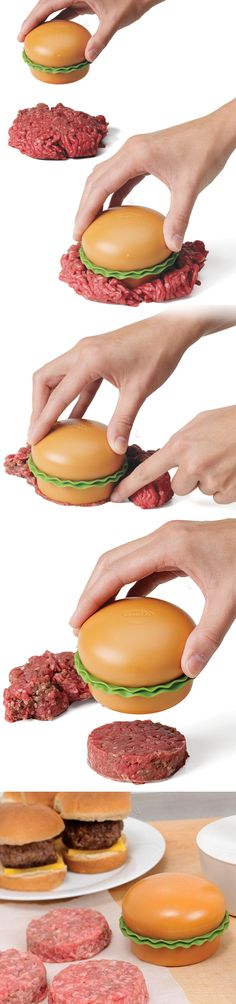 Mini burger machine burger press // forms perfect burgers every time #product_design