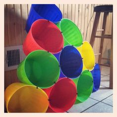 Toy box out of $1 buckets and zip ties! And wouldn't it be fun tossing the toys into the different buckets ... make a game out of a chore!