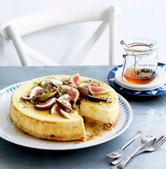 Goat's cheese cake with figs and honey from Gourmet Traveler for Imbolic.