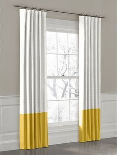 Yellow Convertible Color Block Drapery Panel  curtains