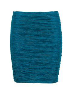 Teal Blue Textured Mini Bodycon Skirt  #Chiarafashion
