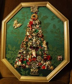 Jewelry Art Christmas Tree, in Vintage 8 sided Frame, a Must See, one of a kind! #FolkArt