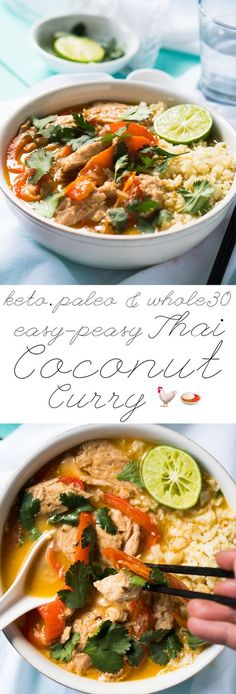 Whole30, Paleo & Keto Thai Coconut Curry Chicken The Easy-Peasy Version! #ketocurry #ketothai