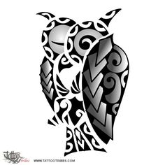 Owl. Coverup.  Arrigo had a small shaded owl tattoo he wanted to cover with a Polynesian design extending over the whole shoulder. The left wing covers the existing tattoo and one of the eye was designed on the lines of an existing full moon. We used spear heads as main elements (strength, courage, the warrior), with[...]  http://www.tattootribes.com/index.php?newlang=English&idinfo=7171