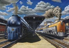 In the late 1940's, due to significant post war backorders of diesel and modernized passenger equipment, The B Railroad, along with rival C Railroad, streamlined a few steam locomotives and upgraded existing passenger equipment in an effort to boost rail traffic. This limited edition train print showcases the B 4-6-2, P7 #5301 (The Cincinnatian) alongside the C 4-6-4 L1 Hudson #490 (The George Washington) at Cincinnati Union Terminal.