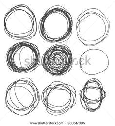 Hand drawn circles, vector logo design elements