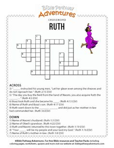Ruth Bible crossword puzzle for kids Scriptures For Kids, Bible Study For Kids, Bible Lessons For Kids, Bible Games, Bible Activities, Bible Story Crafts, Bible Stories, Ruth Bible, Bible Quiz