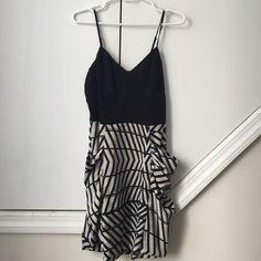 "Greylin black print dress Greylin dress with black top and ""chevron-esque"" print. Cute side pockets. Size small. Greylin Dresses Mini"