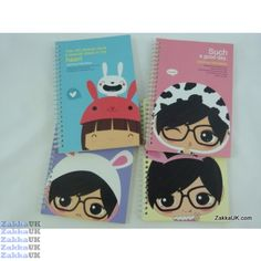 Kawaii Notebooks - Precious Friendship Design - Spiral Bound (24 books - 4 Assorted Designs) Size: A5 Novelty Rubbers Erasers Kawaii Stationery Wholesales