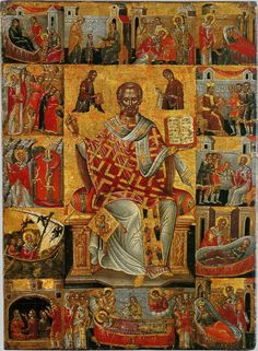 Nicholas the Wonderworker, with scenes from his life (Full of Grace and Truth: St. Nicholas feeds the Athonite Fathers during the Fascist Occupation Religious Images, Religious Icons, Religious Art, Byzantine Icons, Byzantine Art, Greek Icons, Christian Artwork, Russian Icons, Saint Nicholas