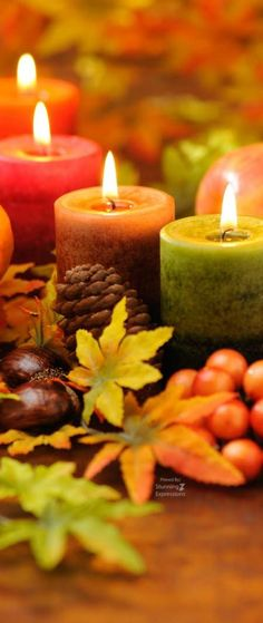 Fall Candles and leaves, Stunning . Thanksgiving Wallpaper, Autumn Scenes, Fall Candles, Diy Candles, Autumn Aesthetic, Autumn Cozy, Fall Wallpaper, Fall Pictures, Hello Autumn