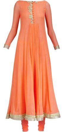 Orange neon anarkali with collar by RIDHI MEHRA. Shop at https://www.perniaspopupshop.com/whats-new/ridhi-mehra-5