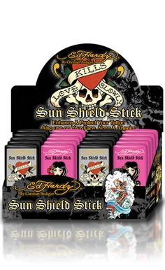 Enhance and protect your tattoos with Ed Hardy's UVA/UVB blocking SPF 60 tattoo stick. Very water resistant and non-greasy formula with added shea butter moisturizers.