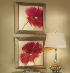"""These prints are accented by frames with a heavily distressed, plated, oxidized silver finish with heavy rust and gray wash. Inner lip has fuchsia colored, dry brushed accents and a light rust and gray wash. Prints are under glass.  S/2;  26"""" x 26""""x 2"""""""