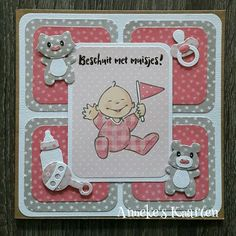 Babykaarten Baby Boy Cards, New Baby Cards, Baby Shower Labels, Baby Shower Cards, Handmade Greeting Card Designs, Baby Announcement Cards, Congratulations Baby, Marianne Design, Baby Scrapbook