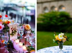 Garden party inspired reception details at Blithewold Rhode Island.