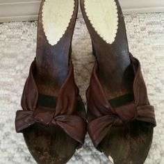 Jessica Simpson wedges Brown wood/cork wedges with leather straps size 10. Small wood chip by the left big toe could be stained and hidden easily Jessica Simpson Shoes Wedges