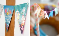 Wimpelketten aus Papier, 3 unterschiedliche Designs, Schmetterlinge Print als Wanddeko, Glitzer, Recycling, Paper work, Fabric Tape, Geburtstag, Feste, Fete, Party, Hochzeitsdeko, Dekoration, Wandschmuck, Butterfly Print, Kuchen Wimpelkette, Washi Tape,  Wimpelkette-Geburtstagsdekoration-aus-Papier_Wimpelketten-aus-Papier
