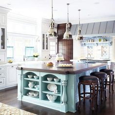 Painted Kitchen Islands. Ohh! Love the color of this Island and the lights!