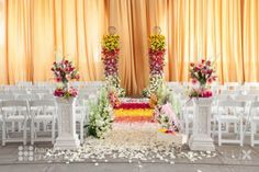 From pink to white rose petals down the aisle I #ceremonydecor I LUX Weddings
