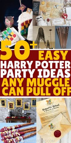 Learn how to plan a HARRY POTTER PARTY that will be loved by wizards and Muggles of all ages. Ideas, games & supplies that will enchant! Baby Harry Potter, Harry Potter Snacks, Harry Potter Halloween, Harry Potter Tisch, Harry Potter Motto Party, Harry Potter Table, Harry Potter Party Games, Harry Potter Invitations, Deco Harry Potter