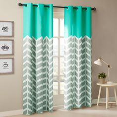 Intelligent Design Alex Chevron Printed Grommet Top Panel Pair ($34) ❤ liked on Polyvore featuring home, home decor, window treatments, curtains, chevron curtains, aqua curtains, grommet panels, zigzag curtains and aqua chevron curtains